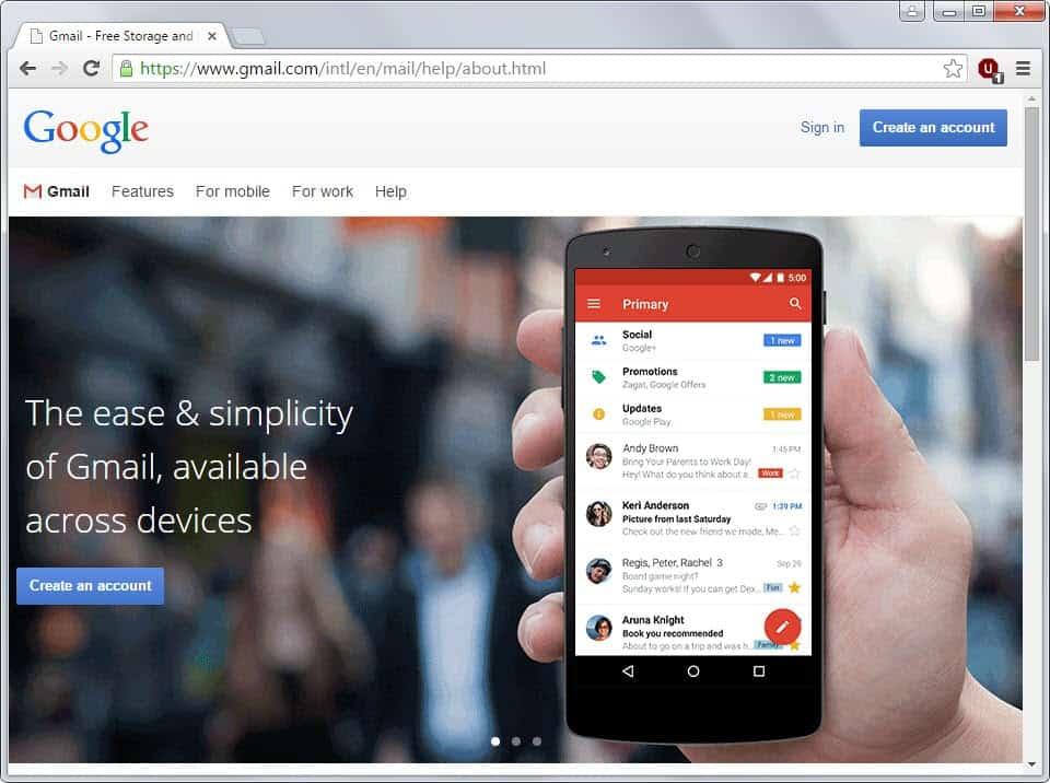 gmail create an account