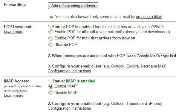 how to find the pop3 and smtp server address