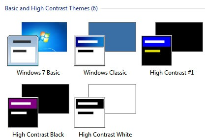 high contrast themes