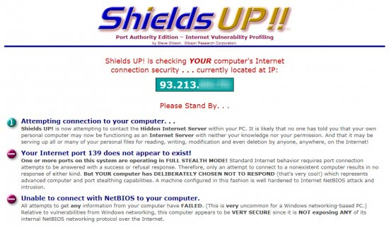 shields up firewall test