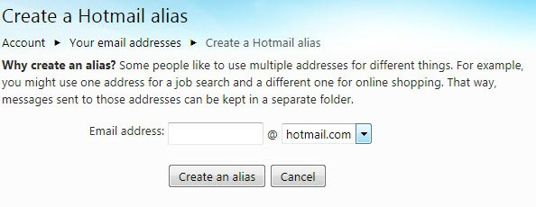 create a hotmail alias