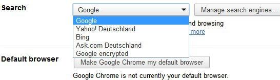 google chrome search engine
