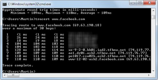 tracert facebook