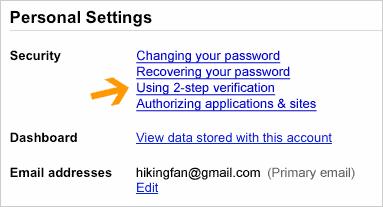 using 2 step verification