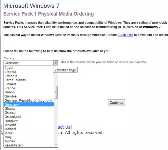 windows 7 sp1 physical media ordering