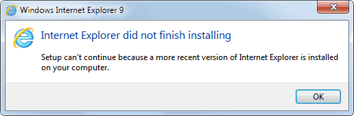 internet explorer did not finish installing