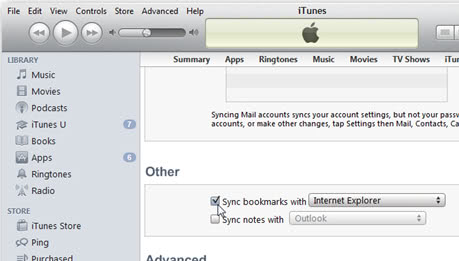 itunes sync bookmarks
