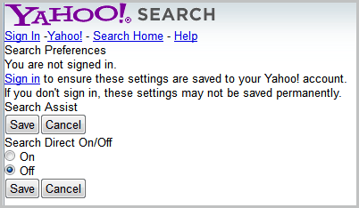 turn off search direct