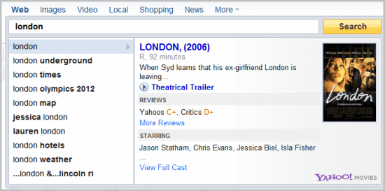 yahoo instant search
