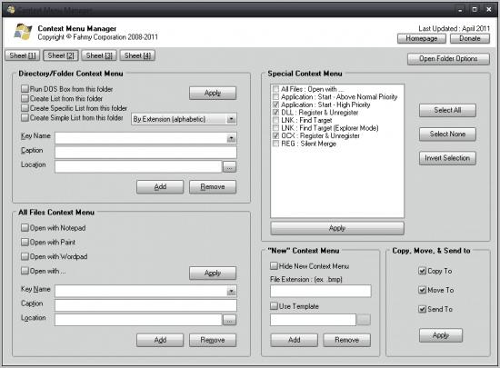 context menu manager
