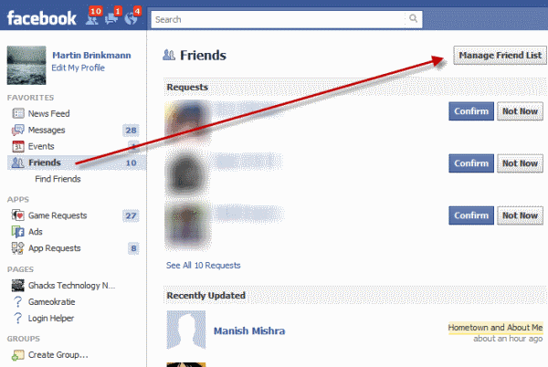 manage friend list