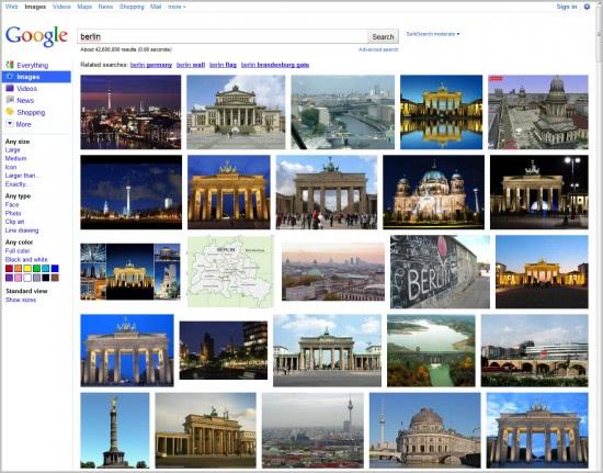 standard google image search