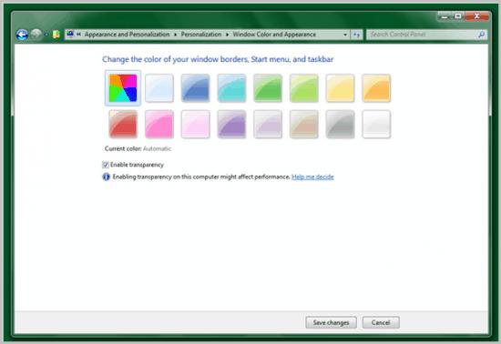 windows aero auto colorization