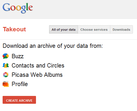 Google Takeout, Export Google Data
