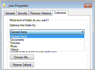 optimize folder for windows