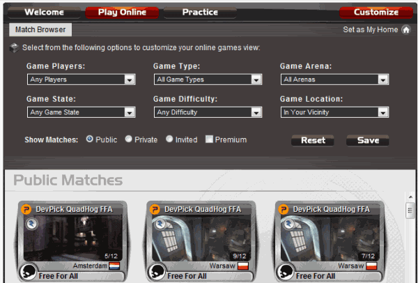 quake live matches