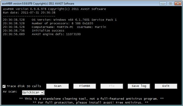 avast aswmbr rootkit scanner