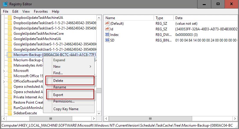 export delete task