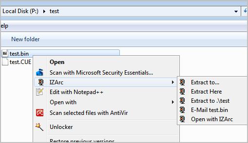 extract bin files