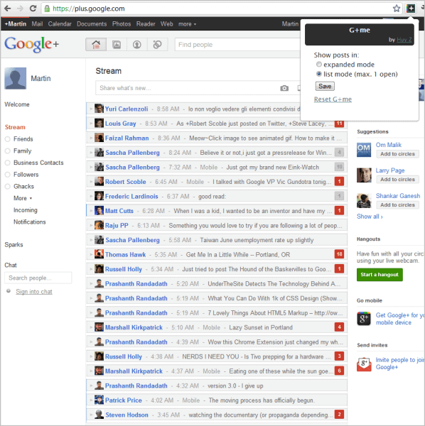 google plus stream list mode