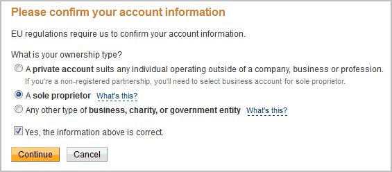 please confirm your account information