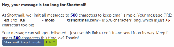 shortmail message