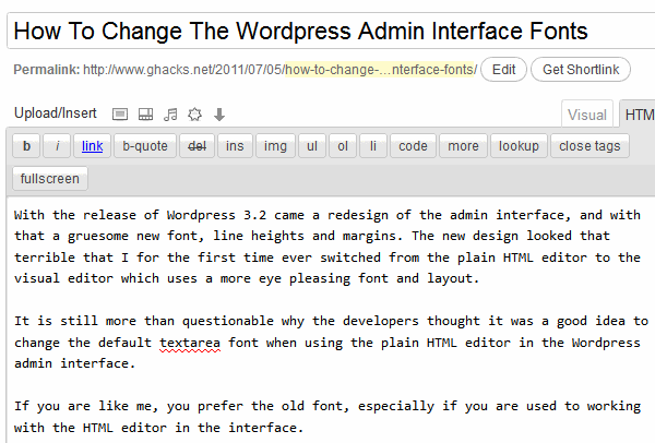 wordpress 32 admin interface