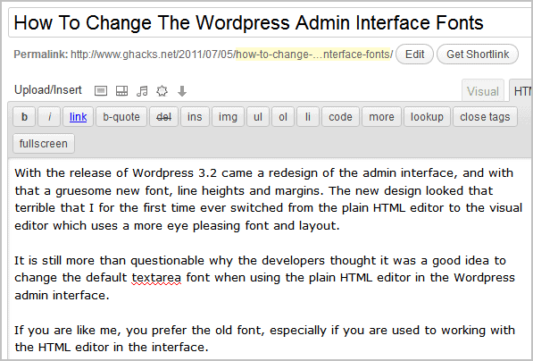 wordpress admin font