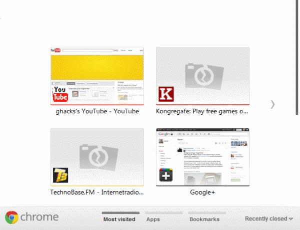 Chrome new tab page