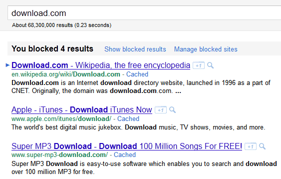 Block Download.com From Google Search Results