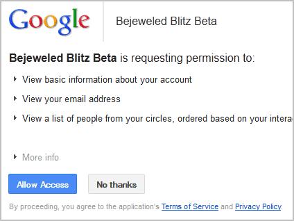 google+ permissions