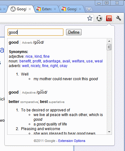 google dictionary look-up