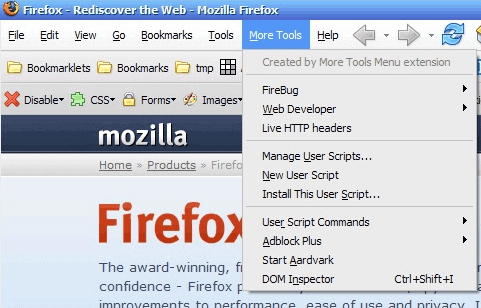 more tools firefox