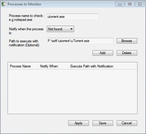 processes to monitor