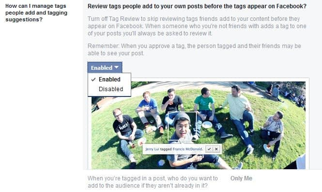 review tags facebook
