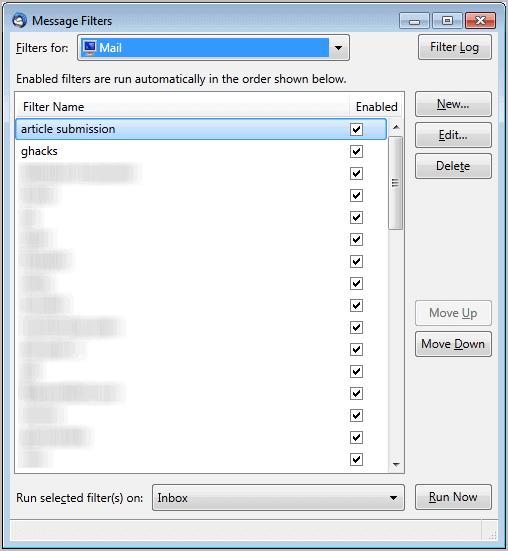 thunderbird message filters
