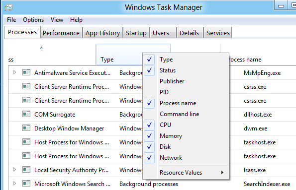 task manager process names