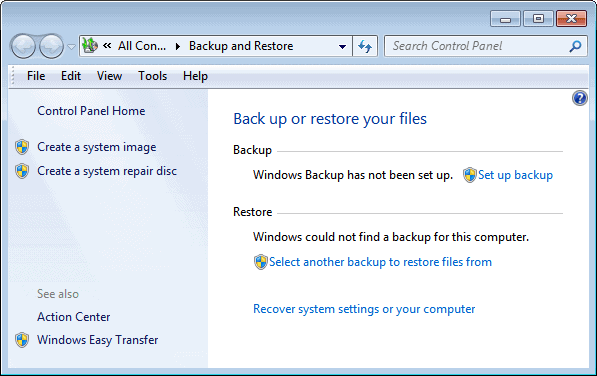 Use Windows 7 Backup to Schedule Automatic File Backups
