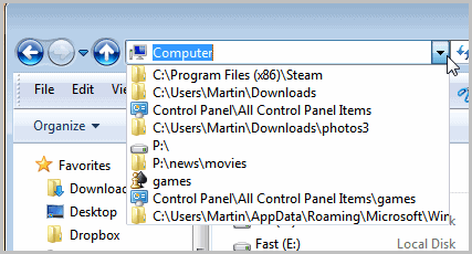 windows explorer history