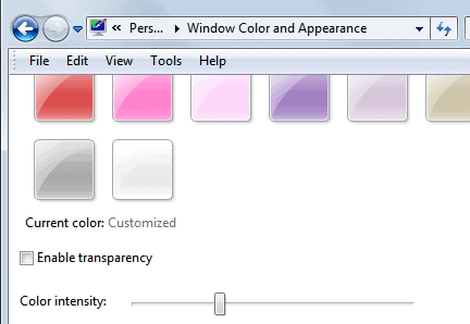disable transparency