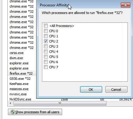 firefox process affinity