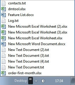 sorted desktop toolbar file list