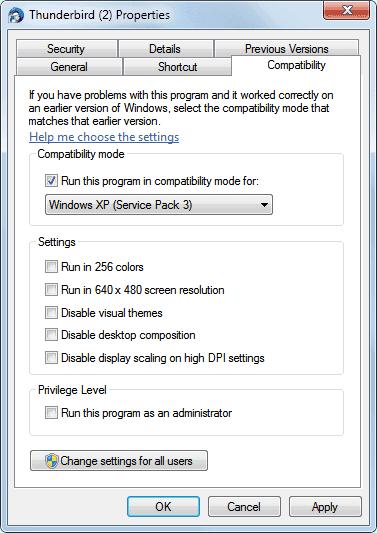 thundebird compatibility mode