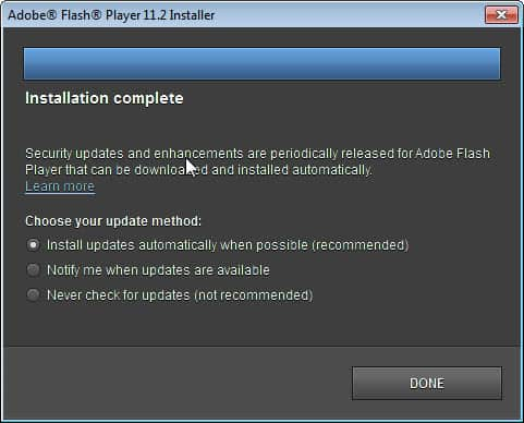 adobe flash player automatic updates