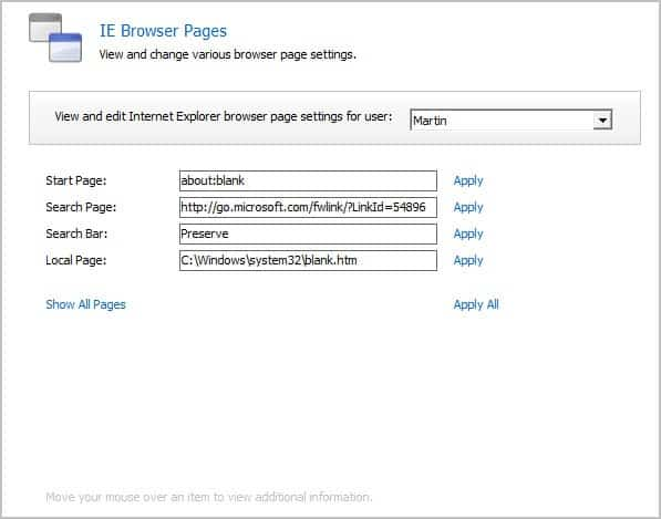 ie browser pages