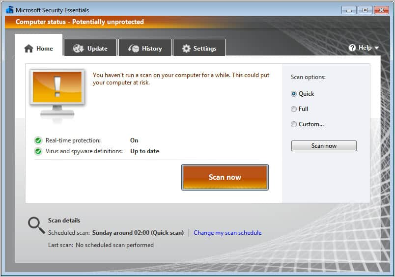 microsoft security essentials old interface