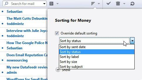 opera mail sorting