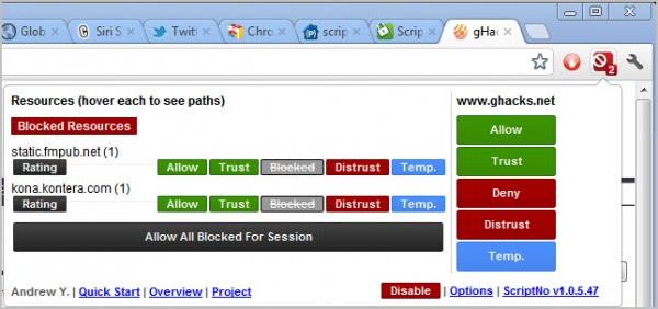 scriptno block scripts chrome