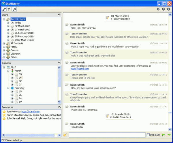 skype chat history manager