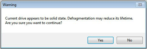 solid state drive defragmentation warning